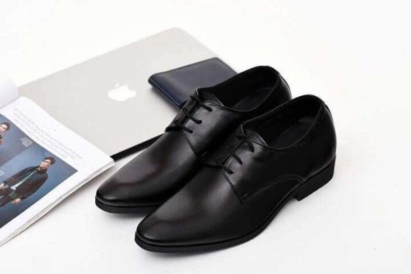 Giày Tăng Chiều Cao Nam Da Bò Dáng Công Sở Lịch Lãm N201B Đen [TẶNG XI ĐÁNH GIÀY]