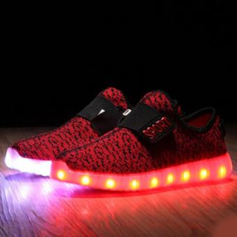 Moonar Thời Trang Bé Trai Bé Gái LED USB Sạc Thoáng Khí Giày Đan Lưới Trẻ Em Dừa (Màu Đỏ)-intl