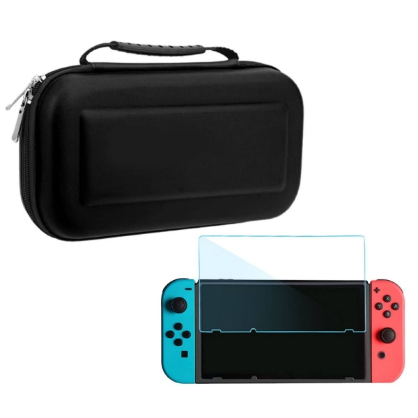Hard Portable Travel Carrying Protective Storage EVA Case Bag Shell Sleeve with 2 PCS HD Tempered Glass Thin Screen Protector Film Cover for Nintendo Switch And Accessories (Red/Pink/Black/Blue)