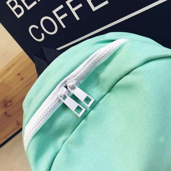 Solid Color Girls Canvas Backpack Casual Soft Handle Single Shoulder Bag