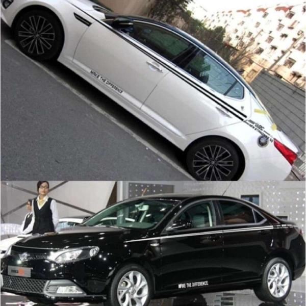 Tem dán sườn xe ô tô phong cách thể thao (06- trắng)