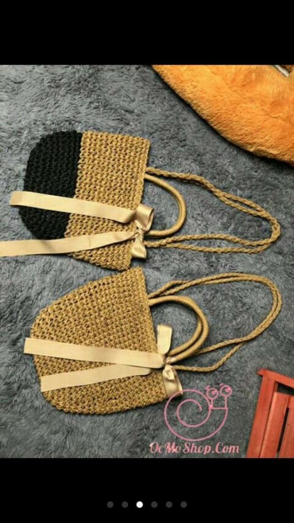 Túi cói nơ nữ tính đeo vai hoặc xách tay cho bạn nữ