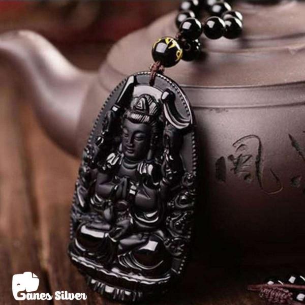 Mặt Dây Chuyền Phong Thủy Phật Thiên Thủ Thiên Nhãn Chất Liệu Đá Obsidian - Thương Hiệu Ganes Silver