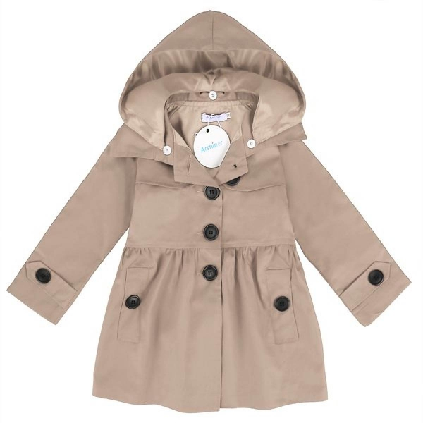 Cyber Arshiner Kids Girl Turn Down Neck Detachable Hat SingleButton Pure Color Slim Cotton Trench Wind Coat Outwear(Khaki) -Intl