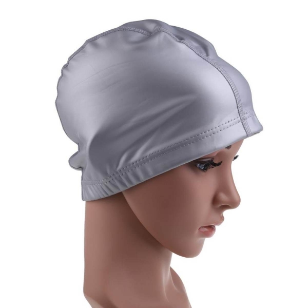 Trendy Adult Swimming Cap PU Coating Cover Waterproof Silver - intl