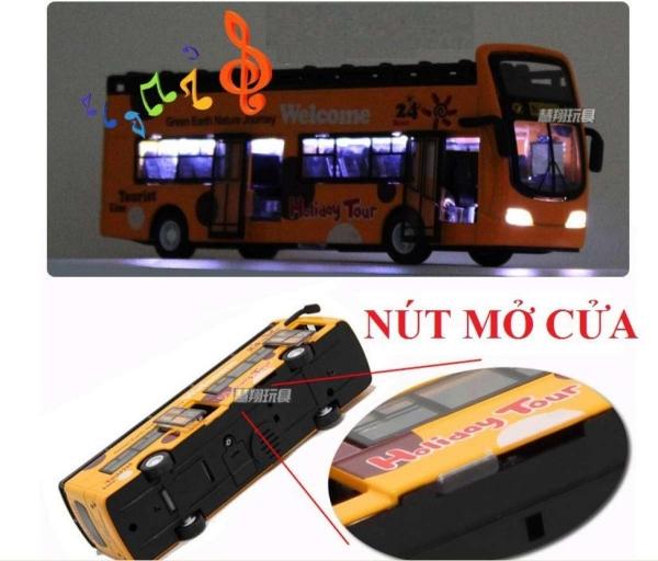 Đồ chơi trẻ em mô hình xe khách die-cast tỉ lệ 1:32 được làm bằng kim loại có nhạc và đèn