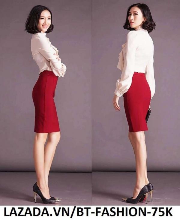 Chân Váy Công Sở Thời Trang Cao Cấp - BT Fashion VCS003B (Dài - Đỏ)