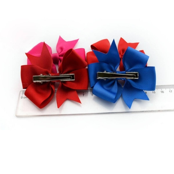 Bow Hair Clips Solid Rib Ribbon Hair Accessories Kids Girls Headwear - intl