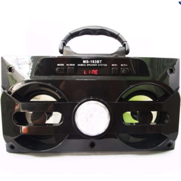 (Xem Video)Loa gỗ Bluetooth đèn led disco xách tay MS-183BT (Màu đen)