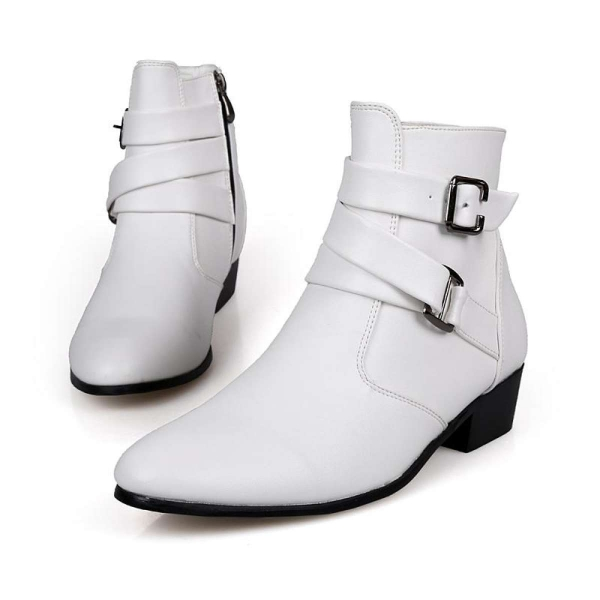 ZUUCEE Men Pointed Leather Shoes Mid-Calf Boots Buckle Flats Shoes(white)【Free Shipping】