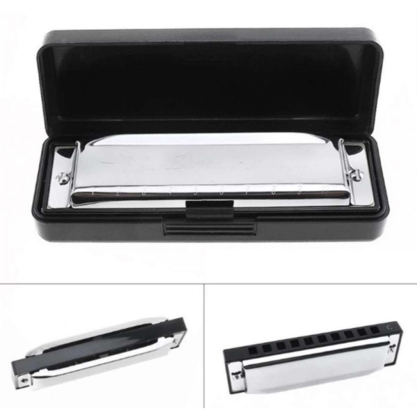 Stainless Steel 10 Holes 12 Tone Silver Harmonica Diatonic Blues Harp Mouth Organ Musical Instrument (Tone-C) - intl