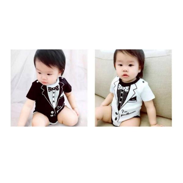 Áo liền quần ngắn Quý Ông Baby Hình Cà Vạt Trắng dành cho bé trai 0-3 tháng