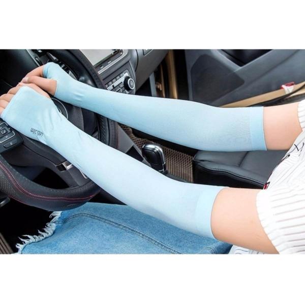 Bộ 2 đôi găng tay Hàn Quốc chống nắng tiện dụng (Trắng xanh)
