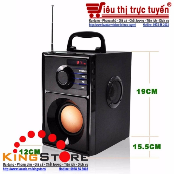 Bluetooth Speaker Wireless Audio 2.1 channel Subwoofer Stereo Wooden HiFi Speakers MP3 Wooden Portable Speaker with FM, c/w REMOTE Control (Black)