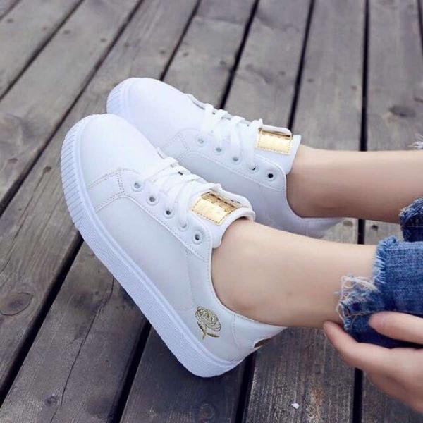 (Miễn phí vận chuyển)(Video) Giày sneaker bông hoa chất da cực mềm, đẹp full box