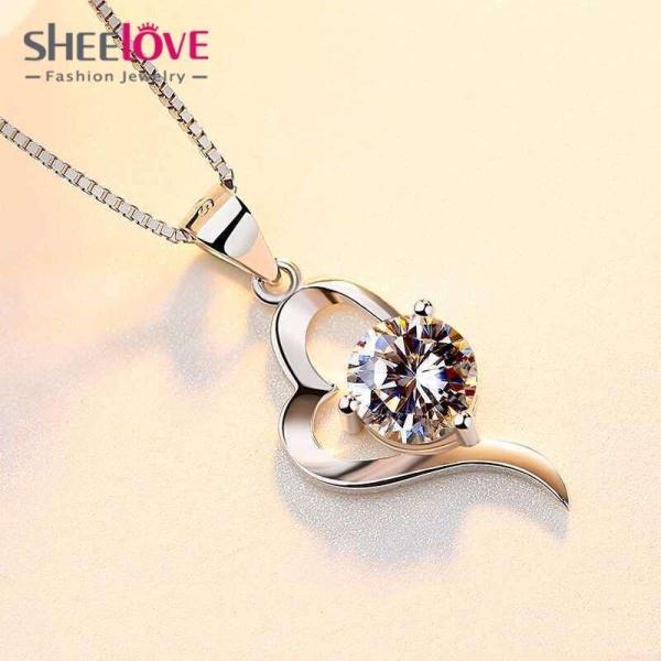 Dây chuyền Bạc Nữ trái tim đính đá sang trọng Lấp lánh thời trang hàn quốc Phong cách mới nhất Nhật Bản Phụ kiện Quần áo HKN-A03