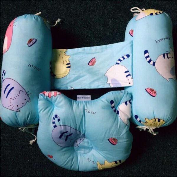 Bộ gối chặn bông lõm vải hàn quốc cho bé sơ sinh