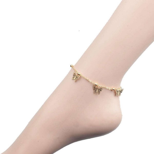 Retro Indian Head Crystal Chain Anklet Butterfly Shape(Gold) - intl