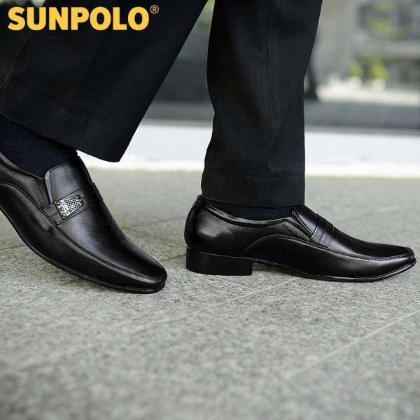 Giày tây da thật công sở SunPoLo S217DRN (Đen)
