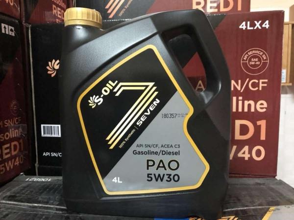 Nhớt gốc PAO dùng cho động cơ xe ô tô S-Oil 7 PAO 5W-30 API SN 4L (Hàn Quốc)