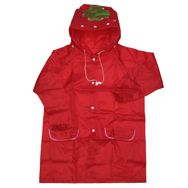 Cute Funny Waterproof Raincoat Outwear Children Cartoon Rain Coat Kids Rainwear Red Strawberry - Intl