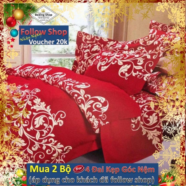 Bộ chăn ga gối bọc cotton móc biển đỏ 1m6 x 2m